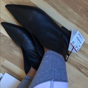 Zara Shoes - Zara leather black booties sz 36